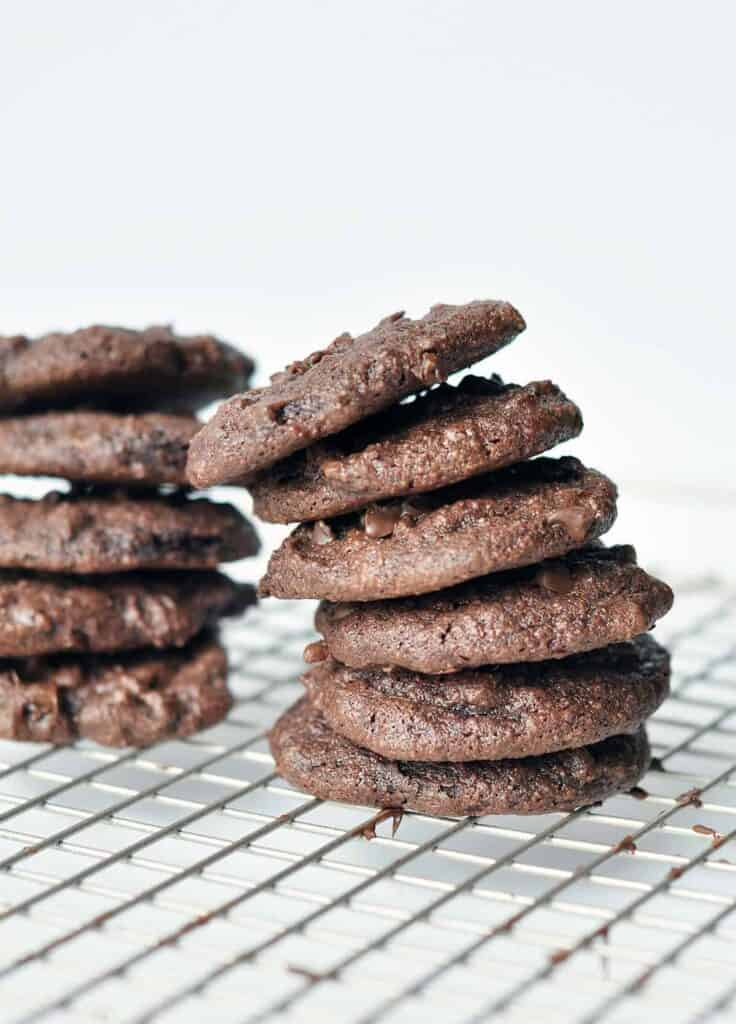 Soft chewy double chocolate peanut butter gluten free cookies. So delicious you will not be able to eat just one.