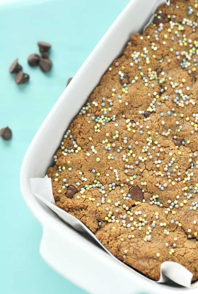 Flourless peanut butter blondies are the perfect gluten free dessert. They come together super fast and are moist and chewy. With a touch of sprinkles they are even fun for the kids.