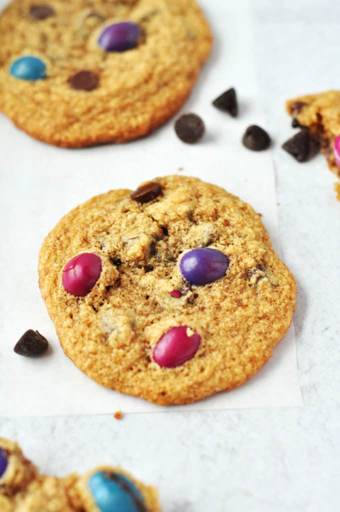 """Gluten Free Chocolate Chip Cookies with """"M&M's""""- gluten free, grain free, refined sugar free and practically paleo. These are perfect for Easter with the beautiful colors and even better for ALL the time."""
