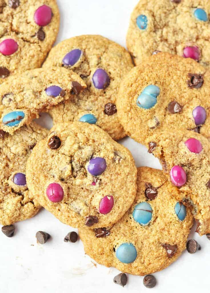 Slightly crispy and alot chewy these almond flour chocolate chip cookies are sure to be your next favorite cookie. Grain free, gluten free, and refined sugar free!