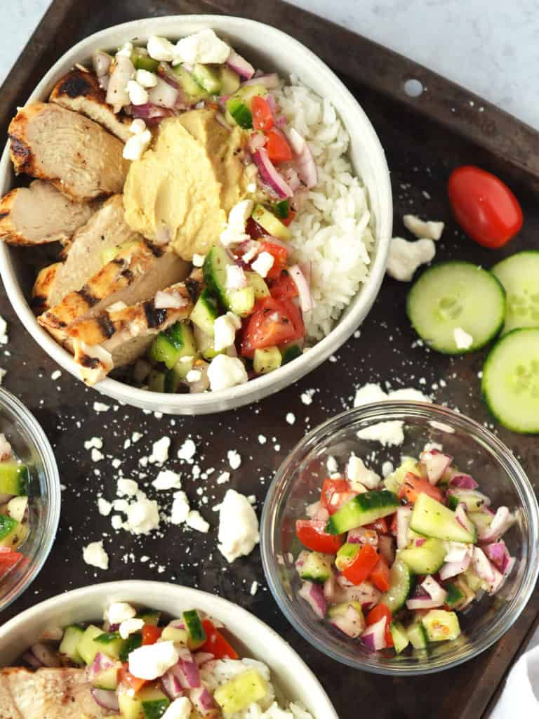 Easy Mediterranean Power Bowls Put together a delicious meal that you will crave for days. Crisp, fresh veggies, zesty greek dressing, and easy grilled chicken topped with your favorite greek add ons like feta cheese. A gluten free power bowl to keep you fueled.