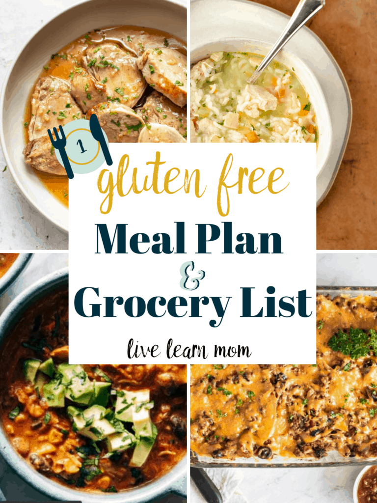 Weekly Gluten Free Meal Plan- Make eating more REAL food easy with an already done for you gluten free weekly meal plan. Easy and family friendly. The shopping list is included.