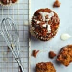 Moist paleo carrot cake muffins topped with a sweet pineapple glaze. Packed with good for you ingredients that are gluten free, grain free and refined sugar free. My kids absolutely devoured these without a second thought of them being good for them!