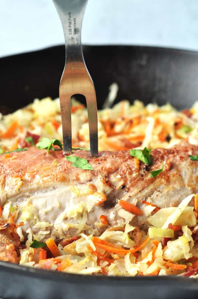 The perfect weeknight meal, Kahlua pork tenderloin with bacon slaw is a smoky, salty, veggie and protein done in one skillet meal. No prep needed and on the table in 35 minutes.
