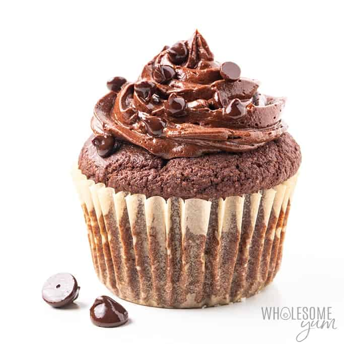 low carb chocolate cupcake by wholesome yum