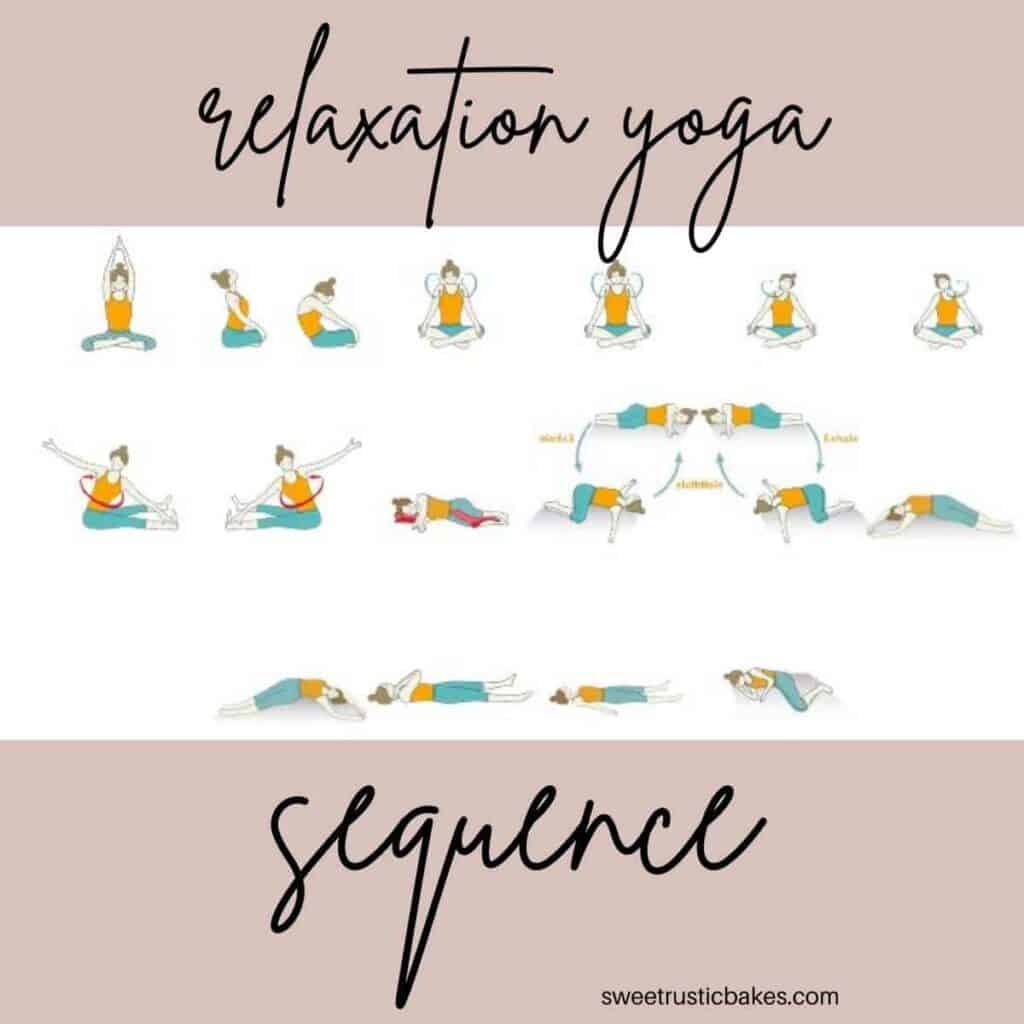 cartoon yoga stick figures doing the relaxation yoga sequence
