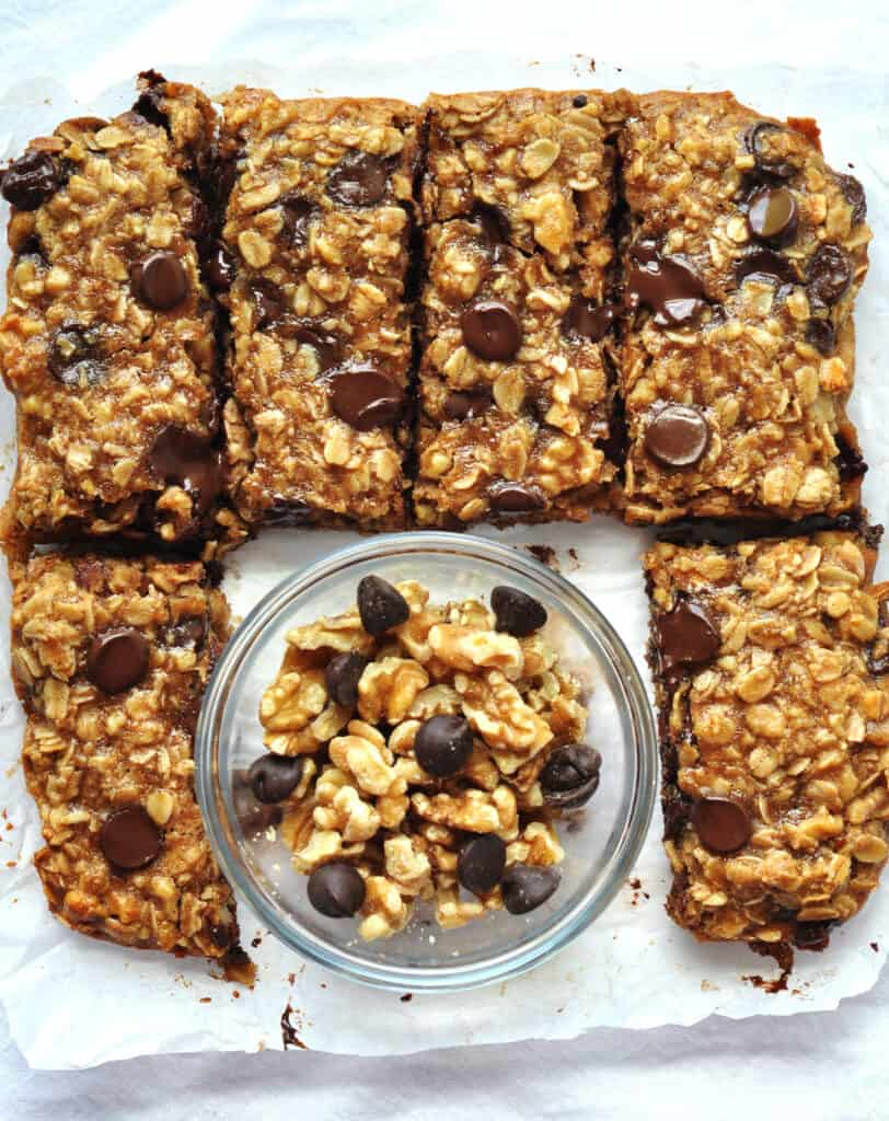 Chewy, soft baked chocolate walnut oatmeal bars that are gluten free and made without any refined sugars. They are so good you won't be able to eat just one. Made with only 10 ingredients!  #WalnutsSweetOrSavory #californiawalnuts #sponsored