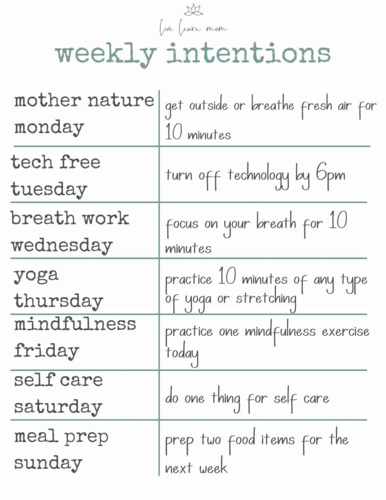 weekly wellness intentions