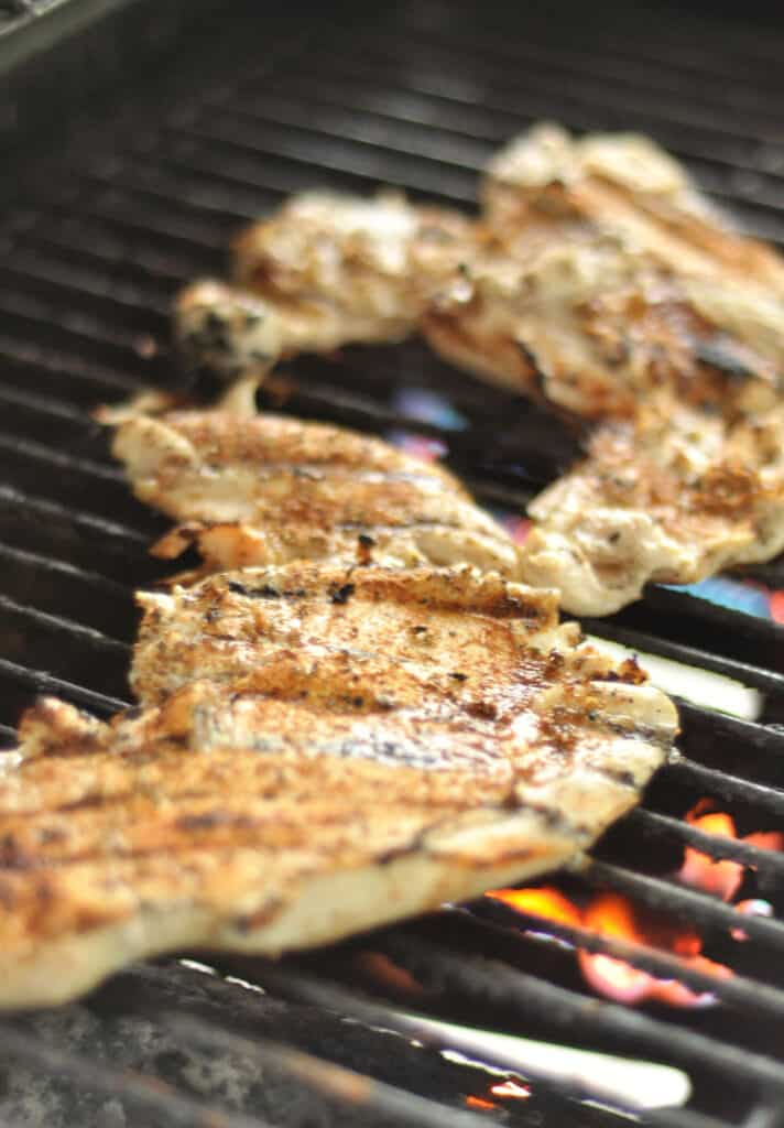 Brined Chicken breast on open flame grill