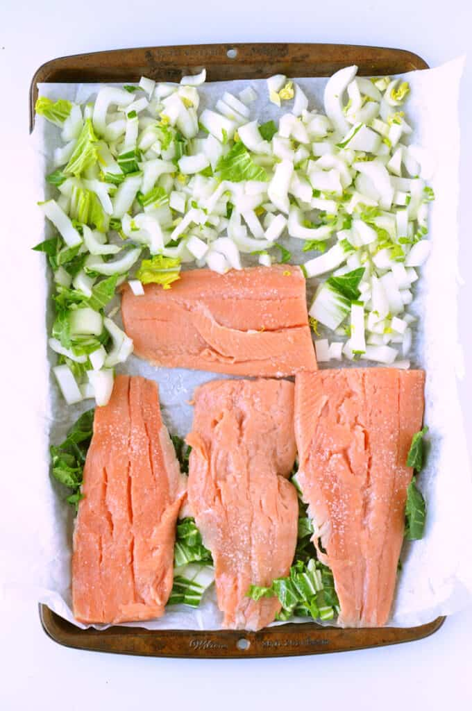 Salmon and Bok Choy on Tray Before Broiling