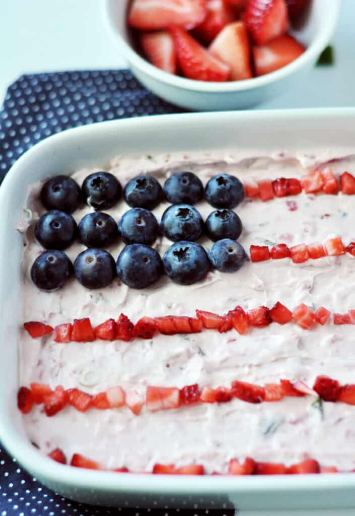close up of the strawberry jalapeno dip american flag design