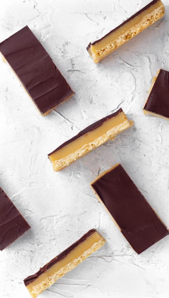 millionaire bars spread out with three turned on their side so you can see the layers