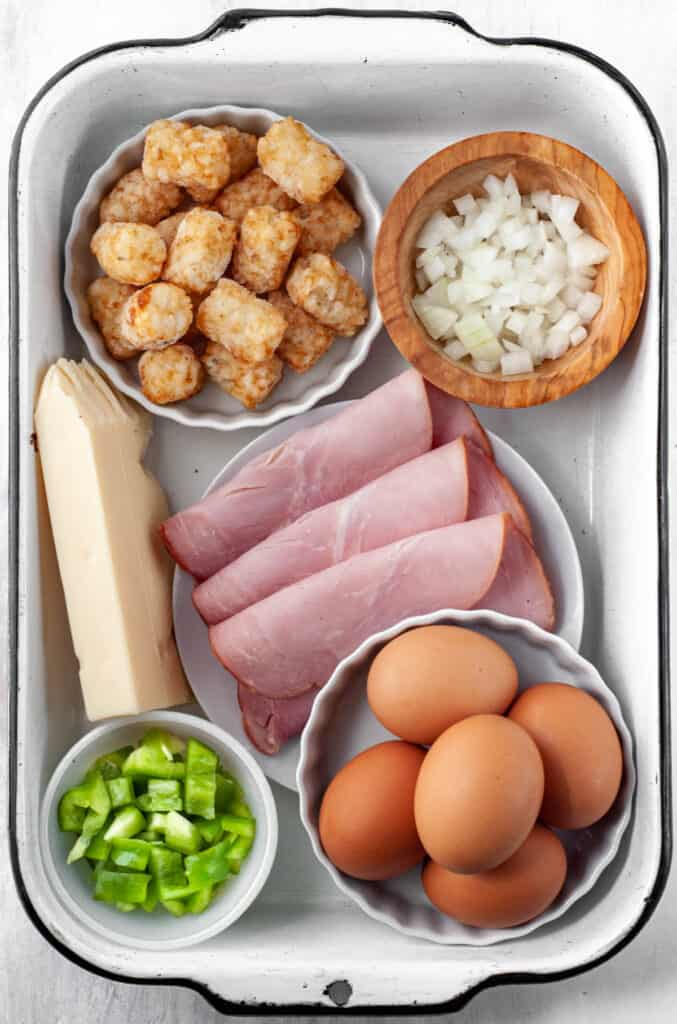 ingredients in a container for a denver tot breakfast bowl