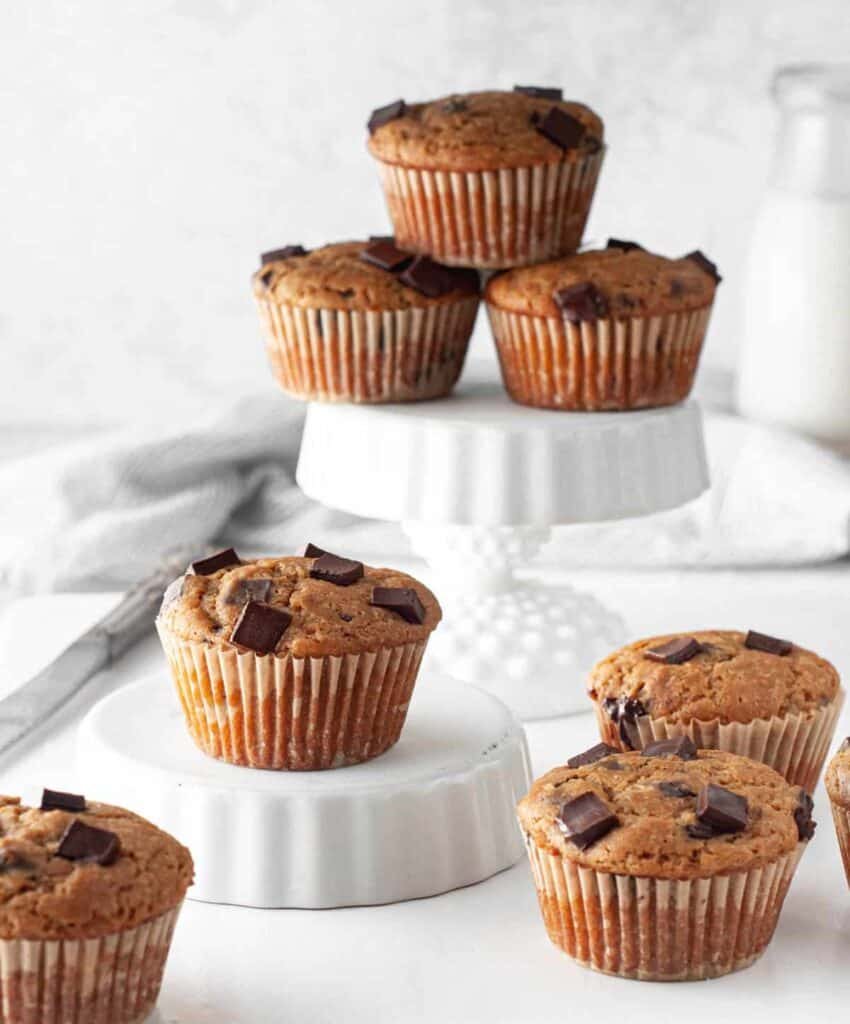 gluten free chocolate chip muffins displayed on different levels