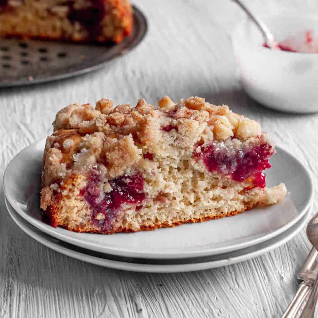 side view of gluten free raspberry coffee cake