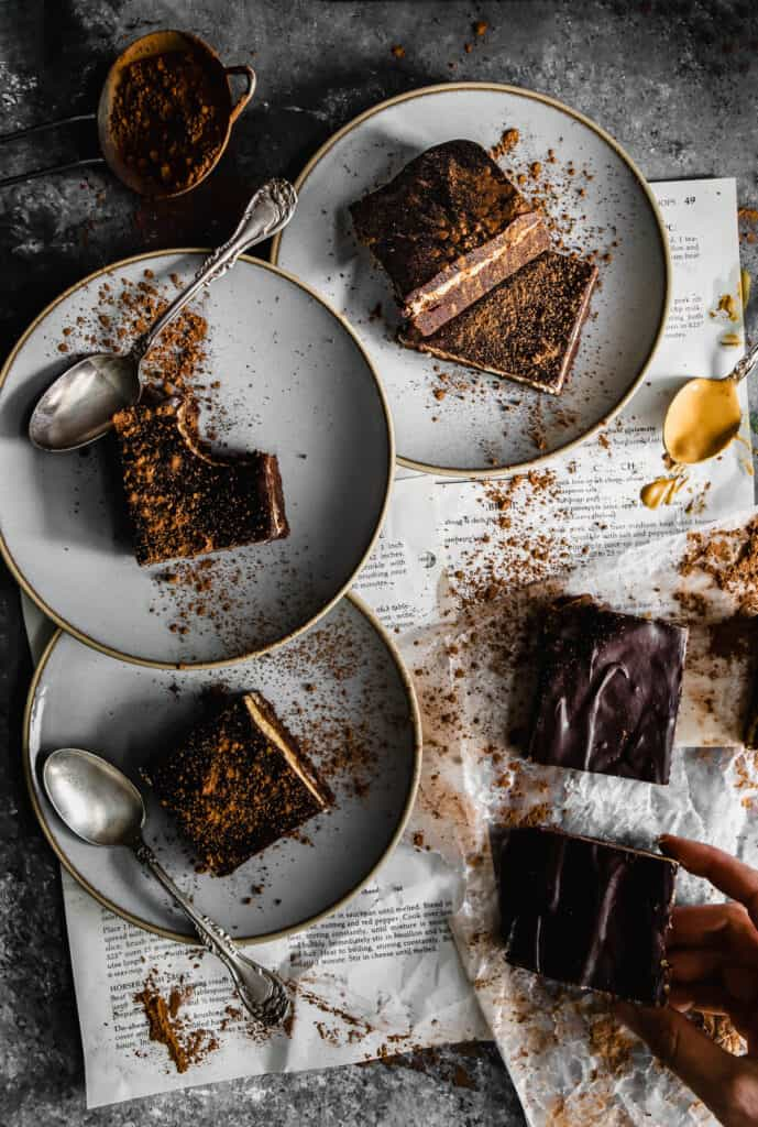 gluten free buckeye brownies on plates and being served
