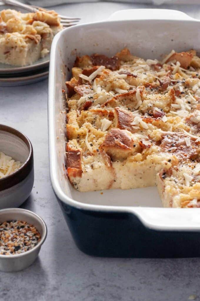 savory french toast casserole with the inside layer showing