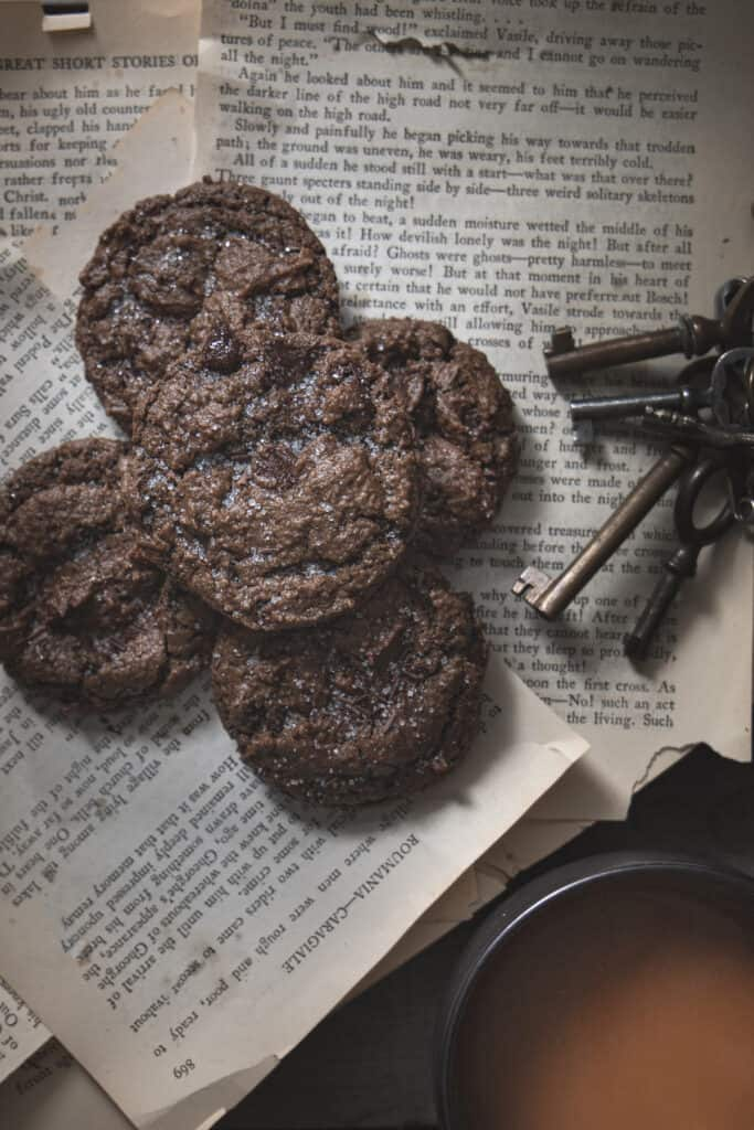 chocolate sunbutter cookies with keys and coffee