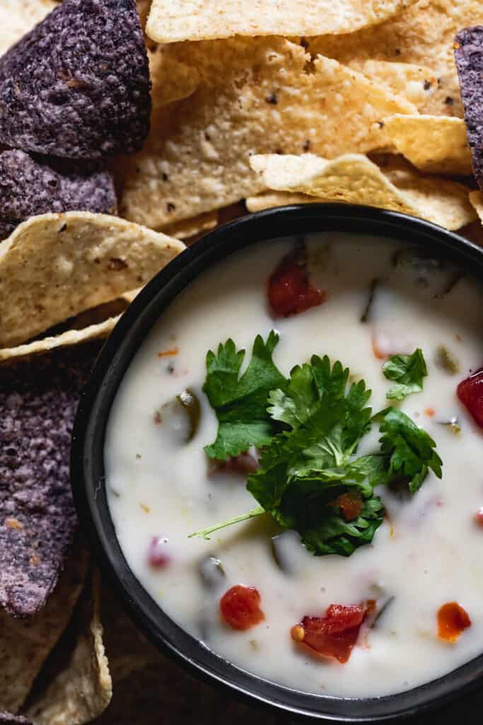 birds eye view of gluten free queso blanco and chips around the bowl