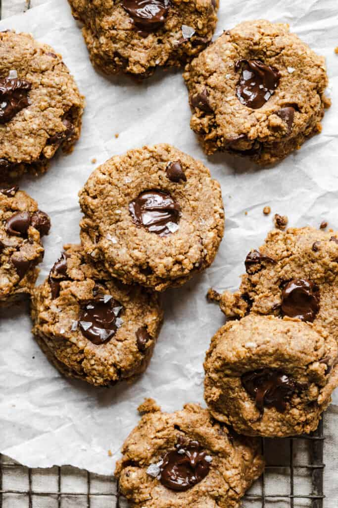 a tray of 4 ingredient almond butter oatmeal cookies