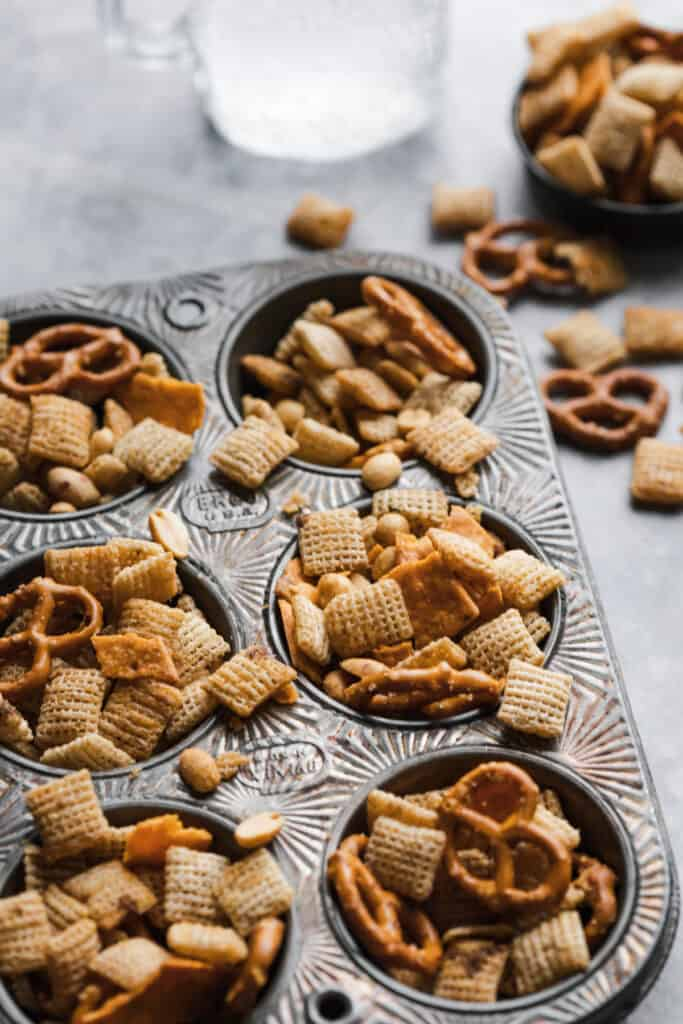 gluten free chex mix in a muffin tin