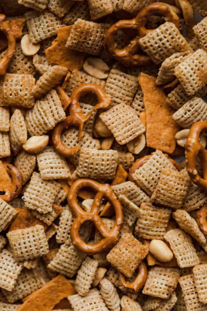 close up of gluten free chex mix