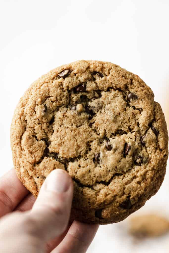 a person holding a cookie up