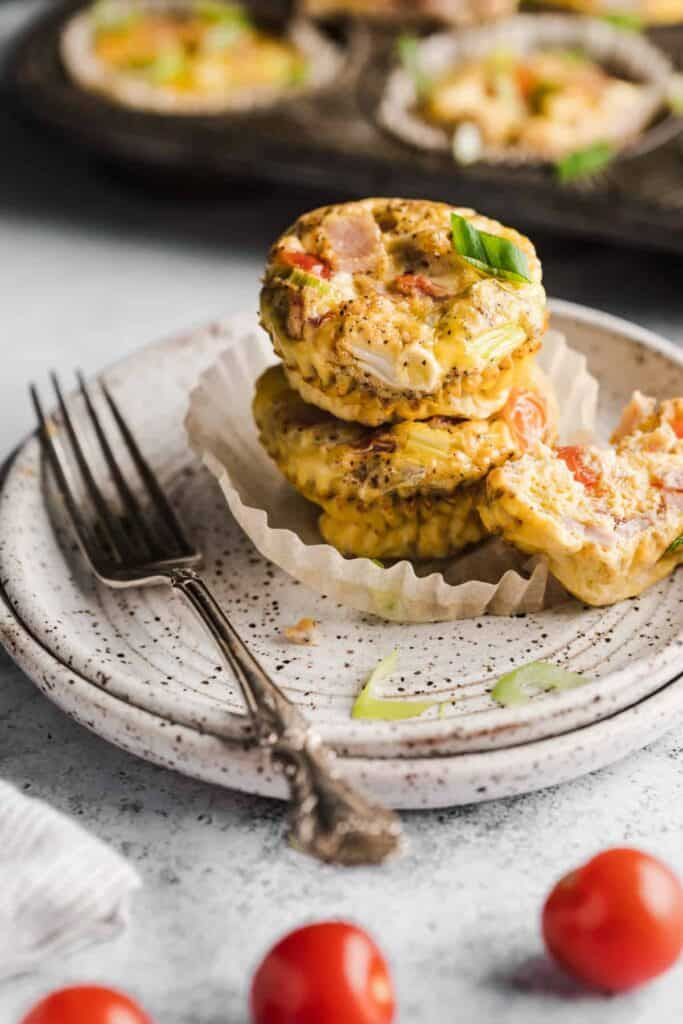 2 healthy egg muffins stacked on top of each other