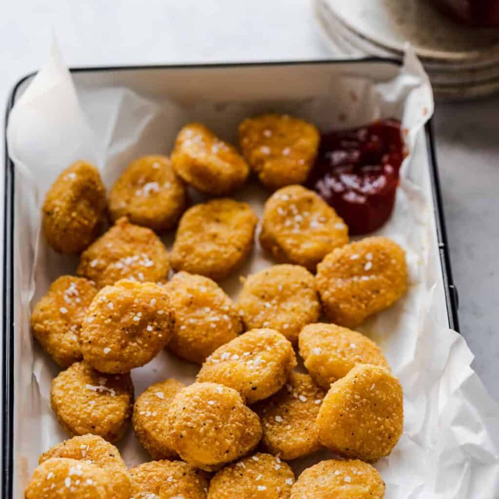 tray of air fryer frozen chicken nuggets