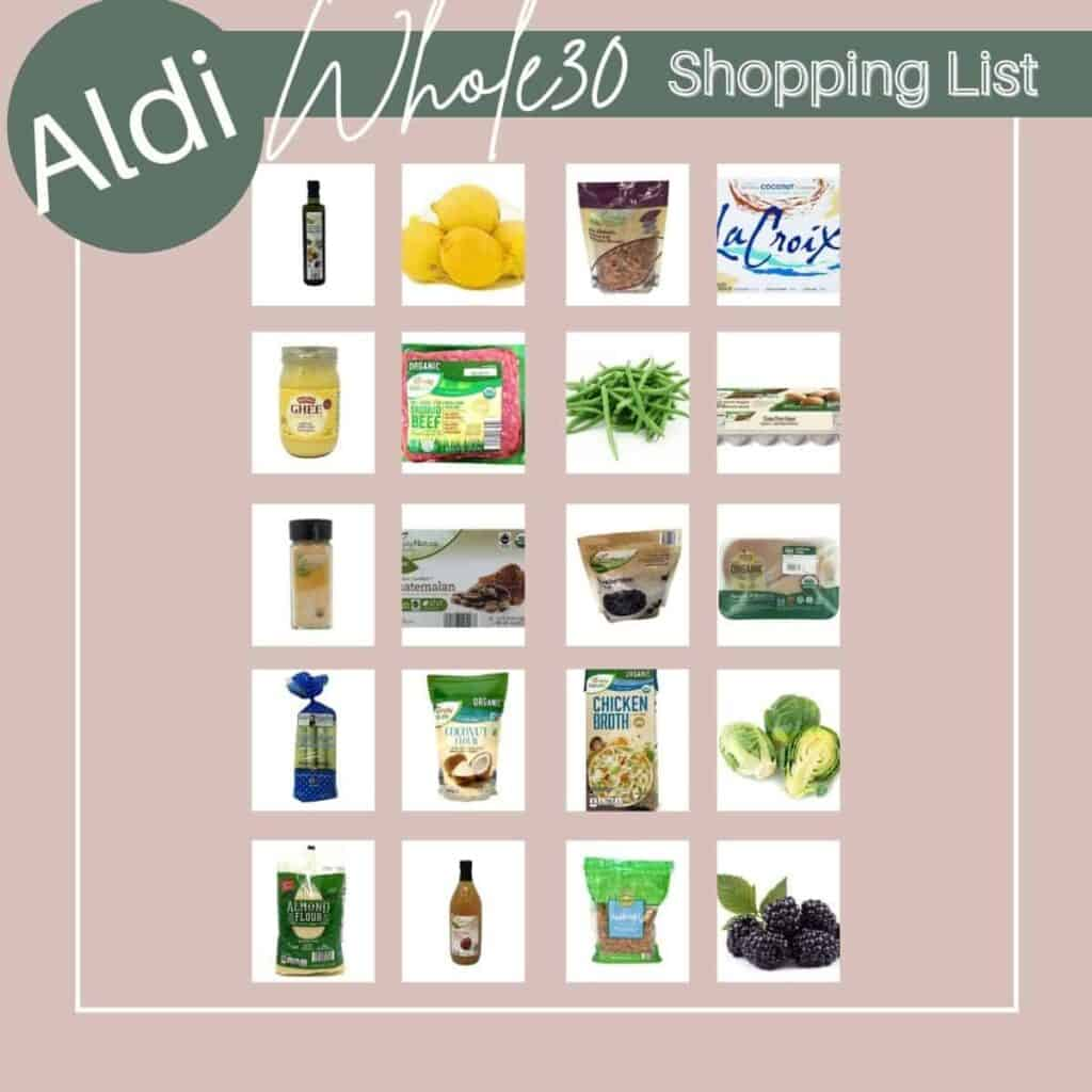 pink square with items from aldi that are whole30 friendly