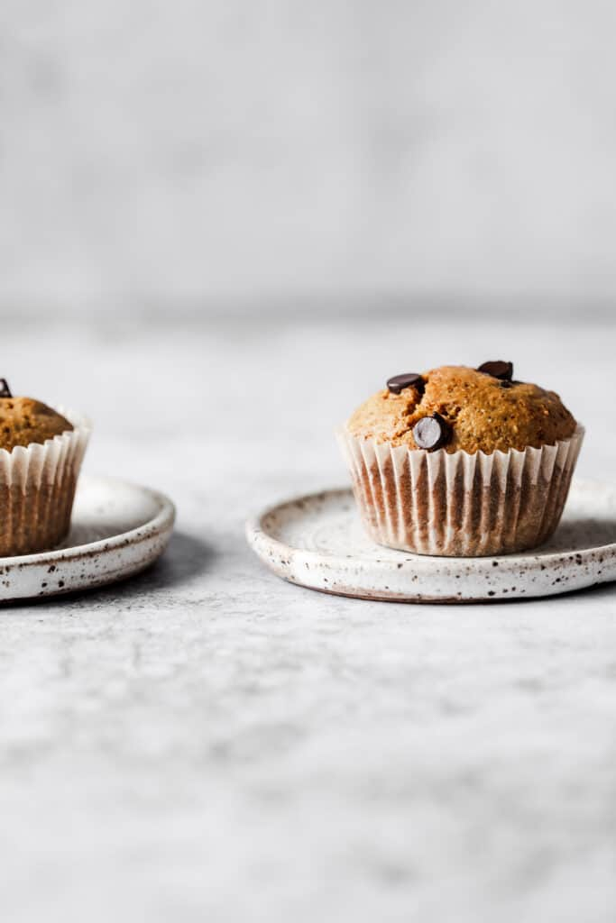 2 paleo chocolate chip muffins on a white plate
