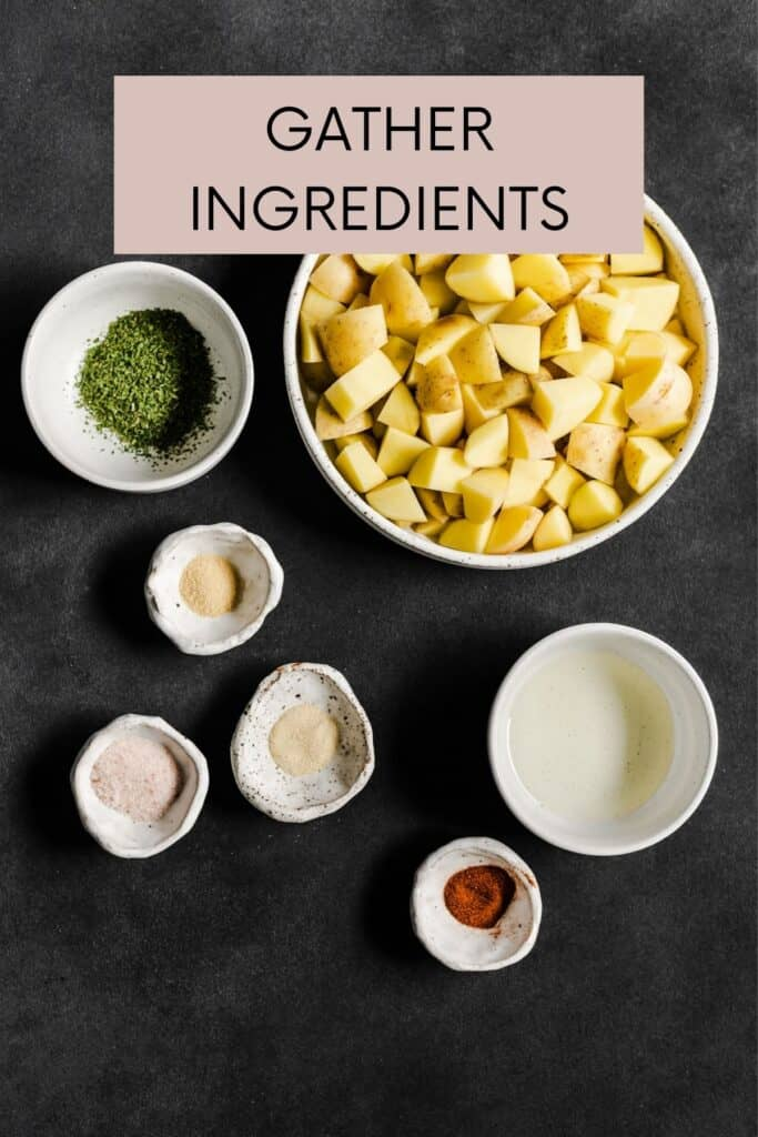 INGREDIENTS GATHERED ON A BLACK BOARD