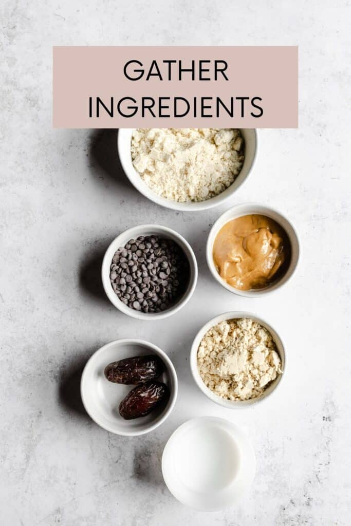 INGREDIENTS FOR COOKIE DOUGH ON A GREY BACKGROUND