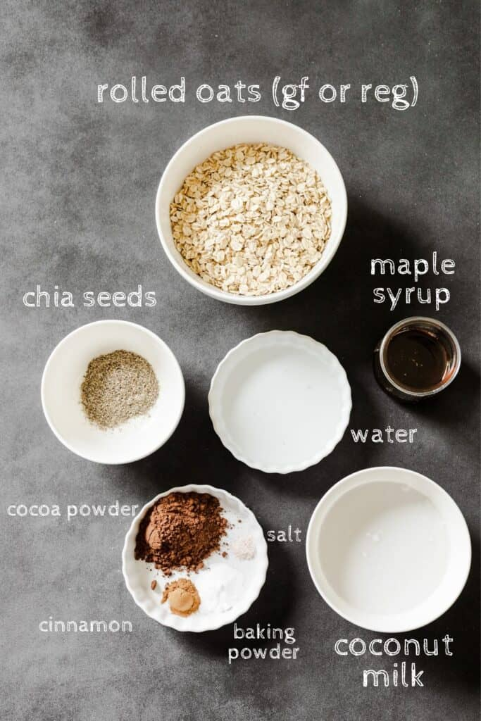 ingredients for oatmeal on a black board