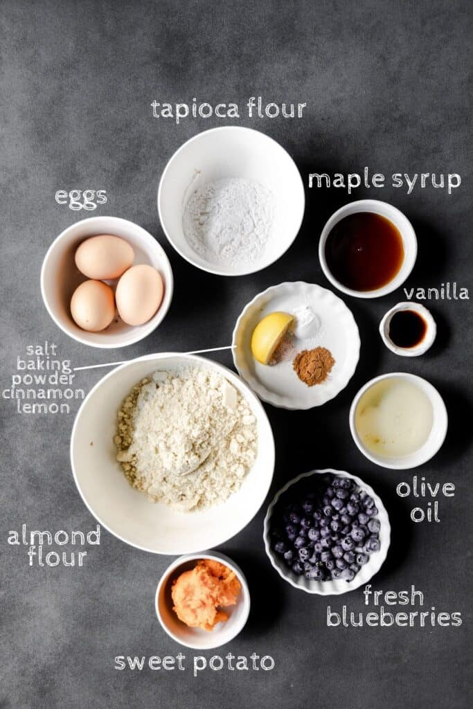 ingredients for the muffins on a black board