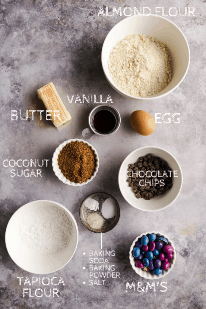 ingredients for the cookies labeled with white lettering